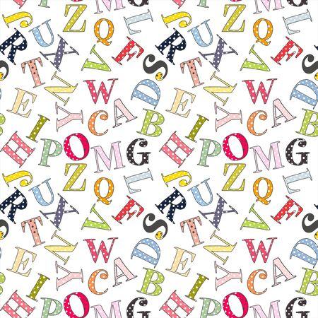 Cute dotted Alphabet seamless pattern. Vector illustration. Element for design. Kids alphabet.