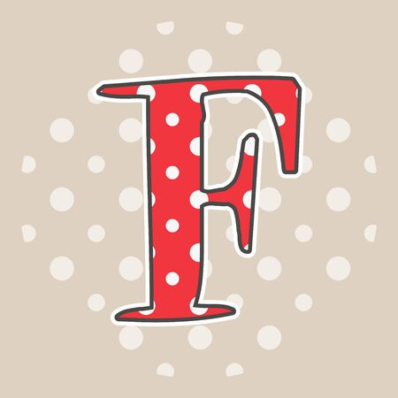 Cute dotted letter F isolated on beige background. Vector illustration. Element for design. Kids alphabet.