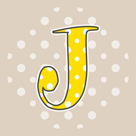 Cute dotted letter J isolated on beige background. Vector illustration. Element for design. Kids alphabet.