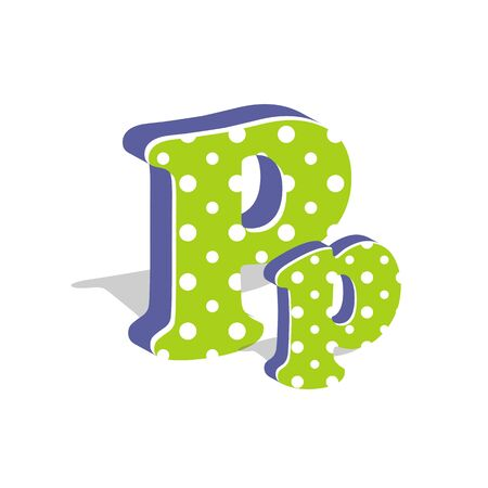 Capital and numeric cute dotted 3d letter P isolated on white background. Vector illustration. Element for design. Kids alphabet. Ilustração