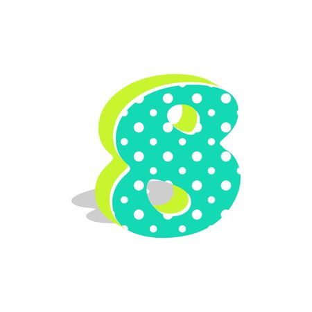 Cute dotted 3d number eight isolated on white background. Vector illustration. Element for design. Kids alphabet.