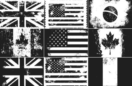 Set of distressed grunge flags of United Kingdom, USA, Canada, Germany, Brazil.