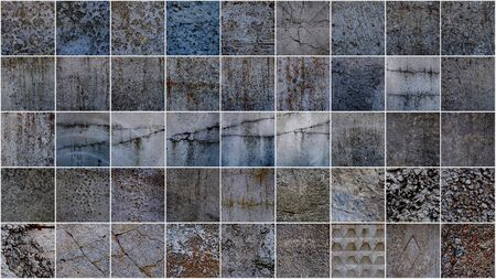 Set of distressed overlay texture of cracked concrete, stone or asphalt. grunge background. abstract halftone illustration