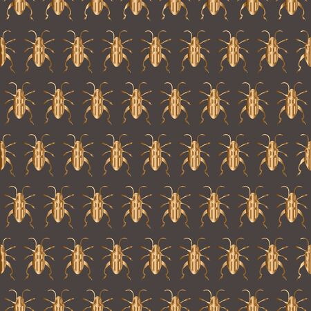 Vintage vector seamless pattern with golden insects, bee, beetle. Stock Illustratie
