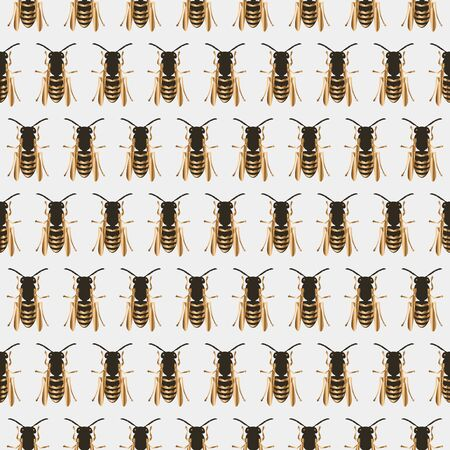 Vintage vector seamless pattern with golden insects, bee, beetle. E Stock Illustratie