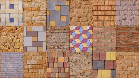 Set of distress old brick wall texture. Yellow and brown grunge background. Stockfoto