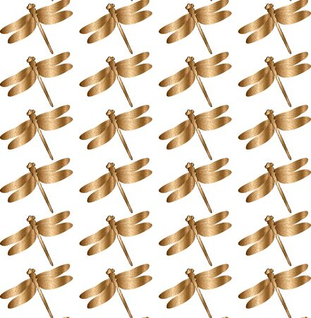 Vintage seamless pattern with golden dragonfly, insects, bee, beetle. EPS8 vector illustration