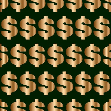 Seamless vector pattern with golden dollar signs on green backgound