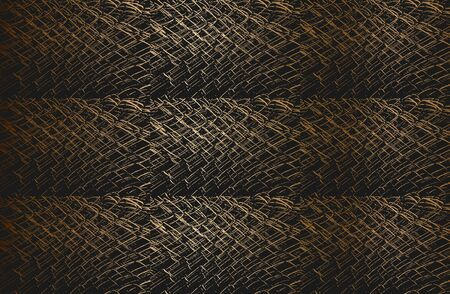 Set collage of golden distress old rusted peeled, scratched vector texture with metal net, wire, cage, crossed stripes. Stock Illustratie