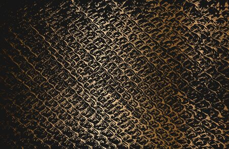 Golden distress old rusted peeled, scratched vector texture with metal net, wire, cage, crossed stripes.