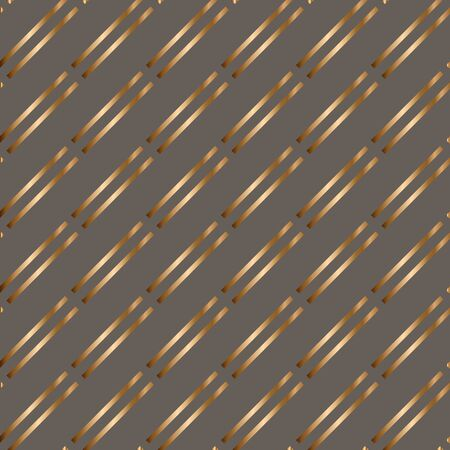 Abstract vector geometric seamless golden pattern with parallel stripes