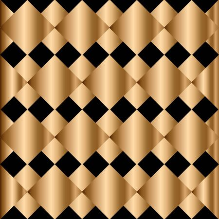 Abstract vector geometric seamless pattern. Black and golden rhombus.