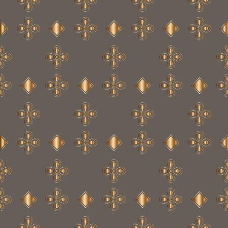Abstract vintage geometric golden seamless pattern. Oramental openwork background. Vector illustration