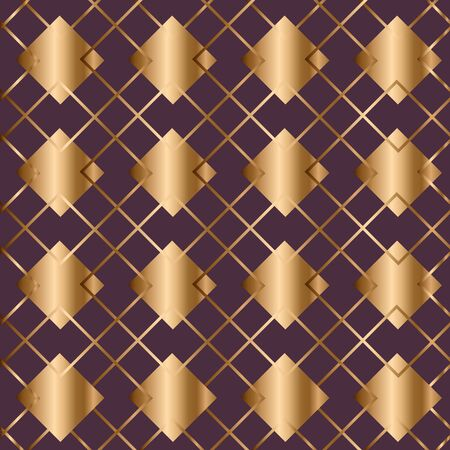 Abstract vintage geometric seamless pattern. Golden background. Vector illustration  イラスト・ベクター素材