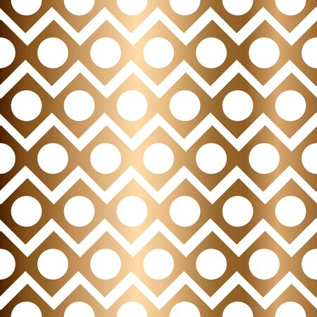 Abstract golden vector geometric seamless pattern with circles and rhombus Stock Illustratie