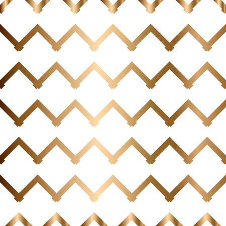 Abstract vector geometric seamless golden pattern with zigzag
