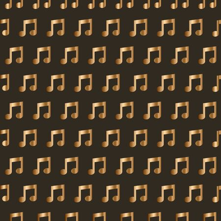 Seamless wallpaper with golden music notes.