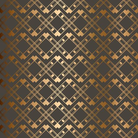 Abstract vintage geometric seamless pattern. Brown golden background. Vector illustration  イラスト・ベクター素材