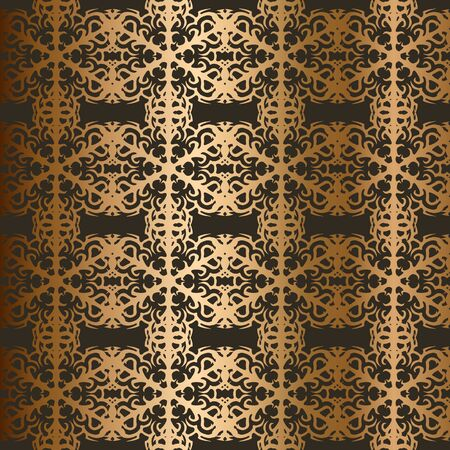 Golden snowflakes seamless vector pattern Abstract background