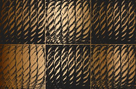 Distress golden grunge vector texture of wicker rope. Black and white background. EPS 8 illustration