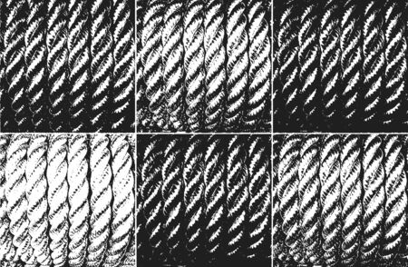 Distress grunge vector texture of wicker rope. Black and white background. EPS 8 illustration