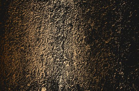 Distressed golden overlay texture of cracked concrete, stone or asphalt. grunge background. abstract halftone vector illustration