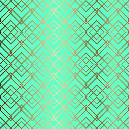 Seamless golden ornamental turquoise vintage background. Vector for textile design.