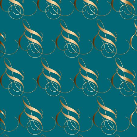Abstract vector geometric seamless pattern. Ornamental blue, turquoise and golden background