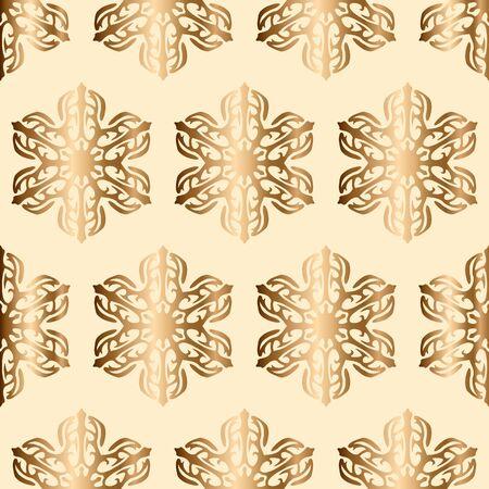 Golden snowflakes seamless vector pattern.
