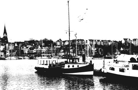 Berth for yachts and boats in the seaport. The ocean yachts is securely moored at the pier of the passenger terminal of the port. Vintage hand drawn vector illustration. Grunge background. 일러스트