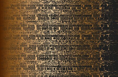 Distressed overlay texture of golden metal plate with ornament, grunge background.