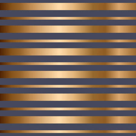 Abstract vector geometric seamless golden pattern with horizontal stripes. Blue background. Stock Illustratie