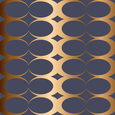 Abstract vector geometric seamless golden pattern. Blue background. Stock Illustratie