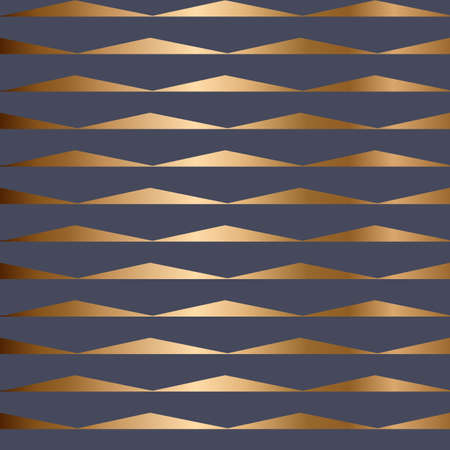 Abstract vector geometric seamless golden pattern with triangles. Blue background.