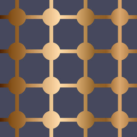 Abstract vector geometric seamless golden pattern with dotes and stripes. Blue background. Stock Illustratie