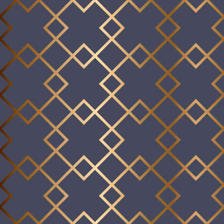 Abstract vector geometric seamless golden pattern with rhombus, rectangles. Blue background.