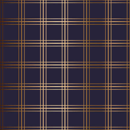 Abstract vector geometric seamless golden pattern with horizontal, vertical crossed stripes. Blue background.