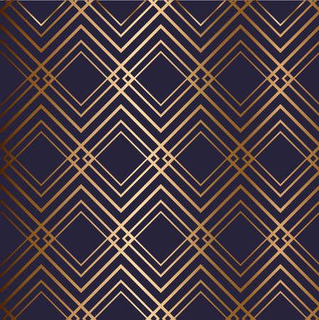 Abstract vector geometric seamless golden pattern with rhombus, rectangles, zigzags. Blue background. Illusztráció