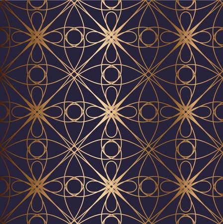 Abstract vector ornamental seamless golden pattern. Blue background. Illusztráció