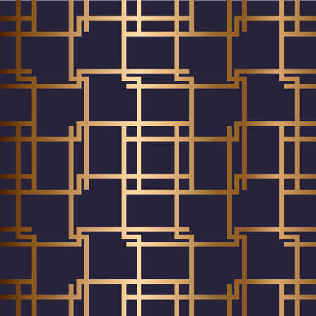 Abstract vector geometric seamless golden pattern with horizontal, vertical crossed stripes, recangles, chinese ornament. Blue background.