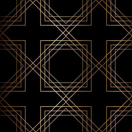 Abstract vector geometric seamless golden pattern. Blue background. Illusztráció