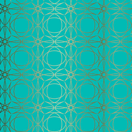 Abstract vector ornamental seamless golden pattern. Blue, turquoise background.