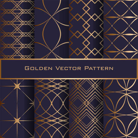 Set of Golden Geometric Seamless Patterns. Luxury design for textile, faabric, wrapping paper. EPS 10 vector illustration. Blue background.