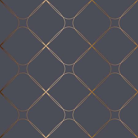 Abstract vector geometric seamless golden pattern. Blue turquoise background. Illusztráció