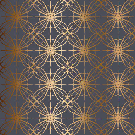 Abstract vector ornamental seamless golden pattern. Gray background.