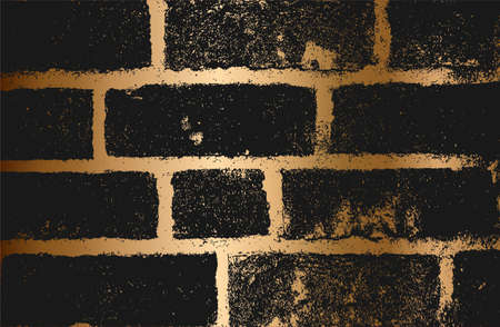 Distress golden old brick wall texture. Black and white grunge background.