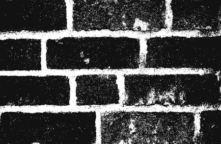 Distress old brick wall texture. Black and white grunge background. Illusztráció