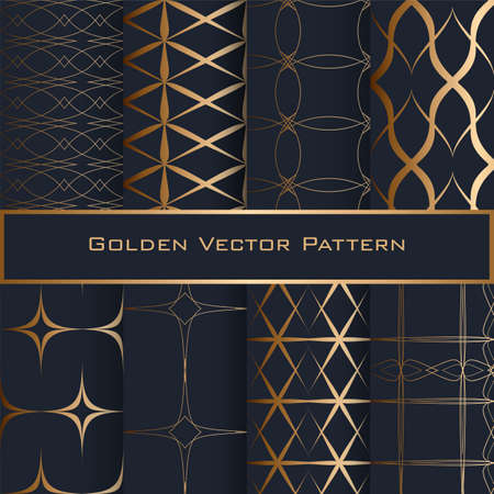 Set of Golden Geometric Seamless Patterns. Blue background. Illusztráció
