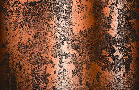 Distressed overlay texture of golden rusted peeled metal. grunge background.