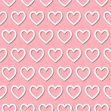White heart icon on pale pink background, seamless pattern. Paper cut style with drop shadows and highligts. Vector illustration. Stockfoto - 168132165